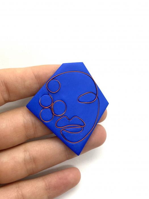 Brosa handmade albastra 1