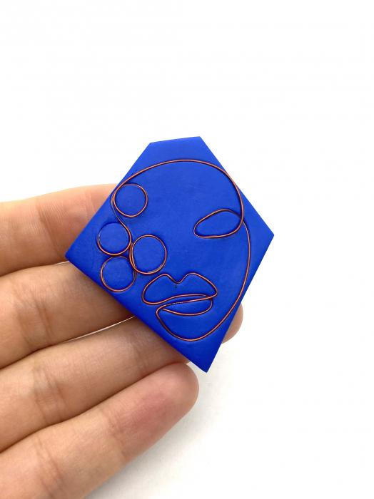 Brosa handmade albastra 5