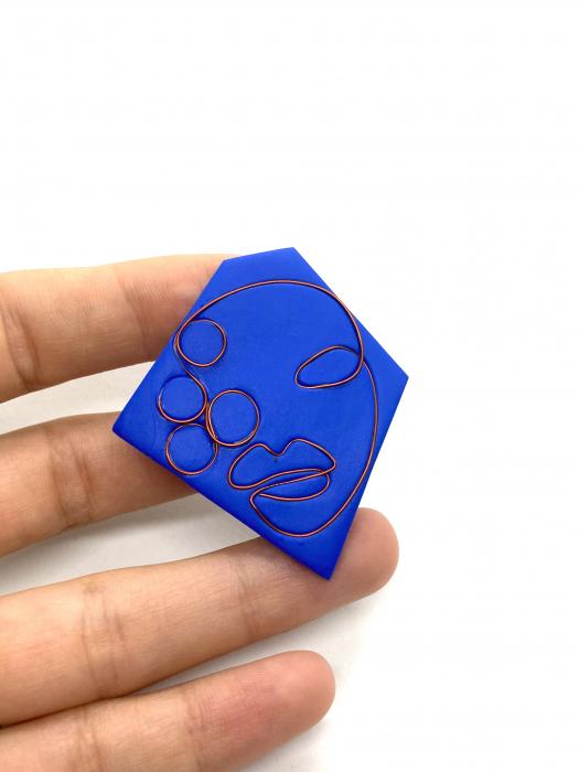 Brosa handmade albastra 6