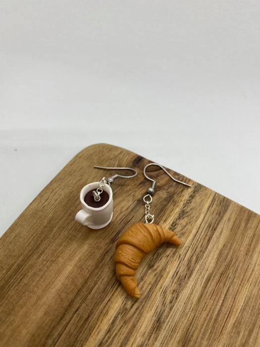 Cercei cu cafea si croissant cercercei - Cercei Handmade [4]
