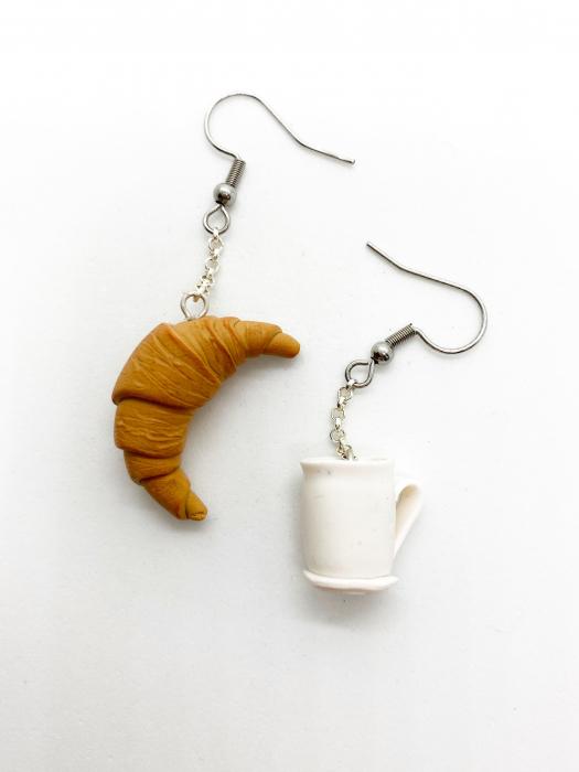 Cercei cu cafea si croissant cercercei - Cercei Handmade [3]
