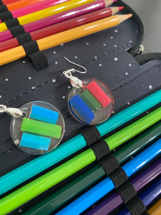 Cercei in forma de cerc cu creioane colorate din argint [10]
