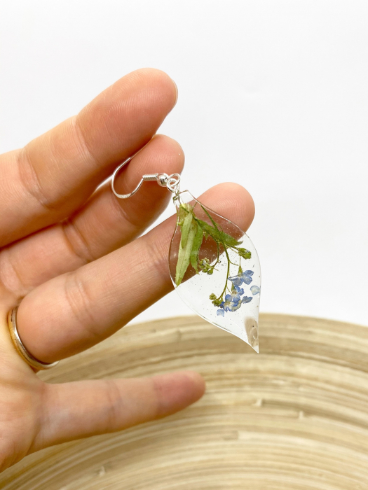 Cercei cu flori de nu ma uita si argint - Cercei Handmade [7]