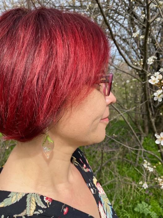 Cercei cu flori de nu ma uita si argint - Cercei Handmade [9]