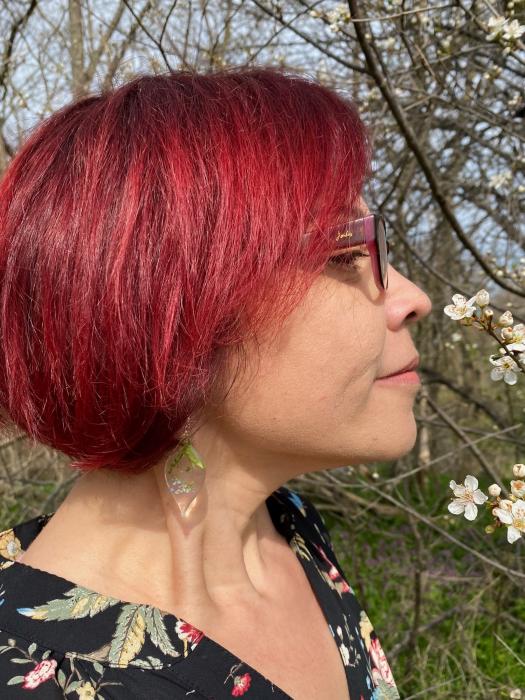Cercei cu flori de nu ma uita si argint - Cercei Handmade [10]