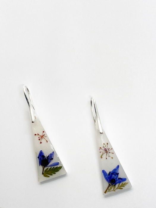 Cercei cu flori montati in argint - Cercei Handmade 0