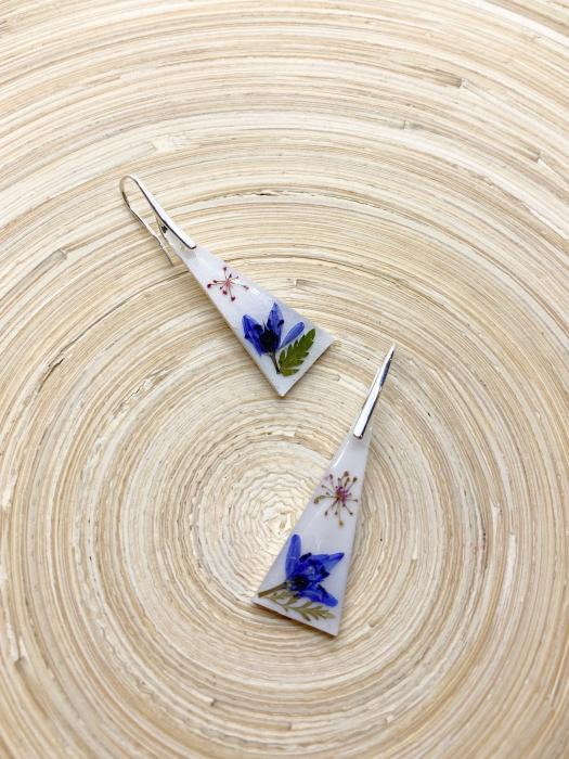 Cercei cu flori montati in argint - Cercei Handmade 2