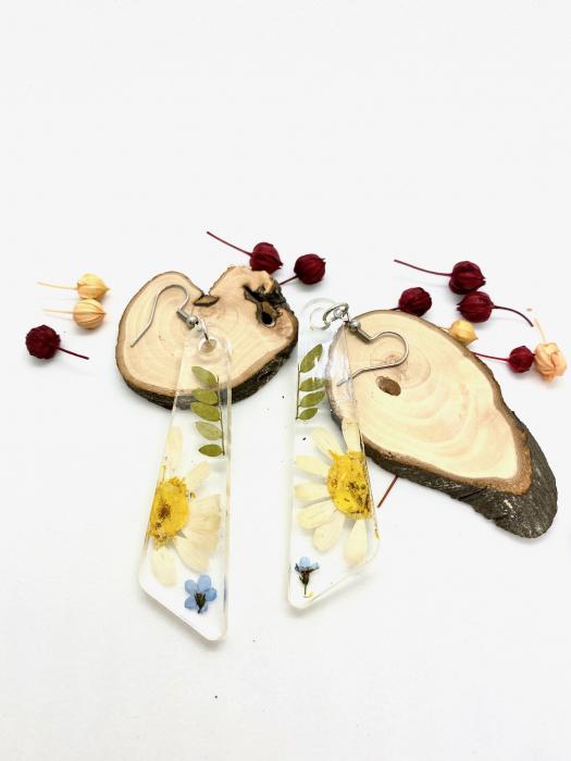 Cercei cu flori si frunze handmade [4]