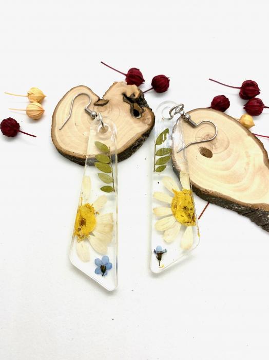 Cercei cu flori si frunze handmade [5]