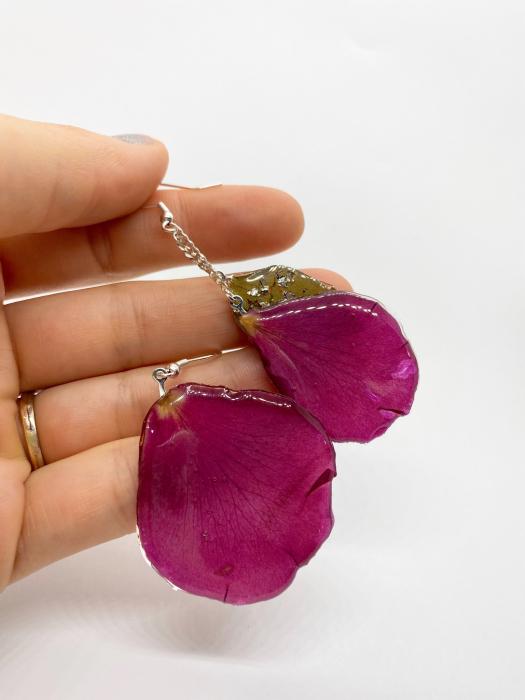 Cercei cu frunza si petele de trandafiri handmade [9]