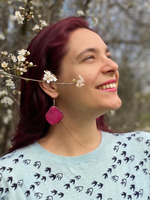 Cercei cu frunza si petele de trandafiri handmade [12]