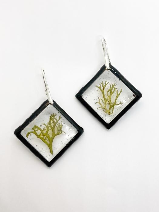 Cercei cu licheni si agatatoare din argint- Cercei Handmade 2