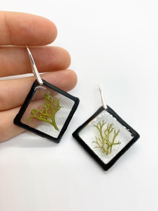 Cercei cu licheni si agatatoare din argint- Cercei Handmade 0