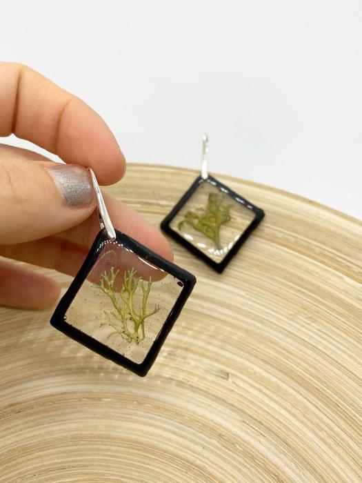 Cercei cu licheni si agatatoare din argint- Cercei Handmade 3