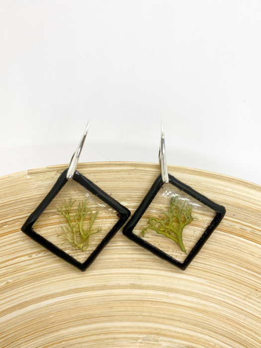 Cercei cu licheni si agatatoare din argint- Cercei Handmade 10