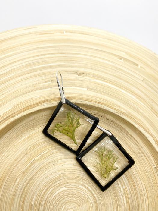Cercei cu licheni si agatatoare din argint- Cercei Handmade 4