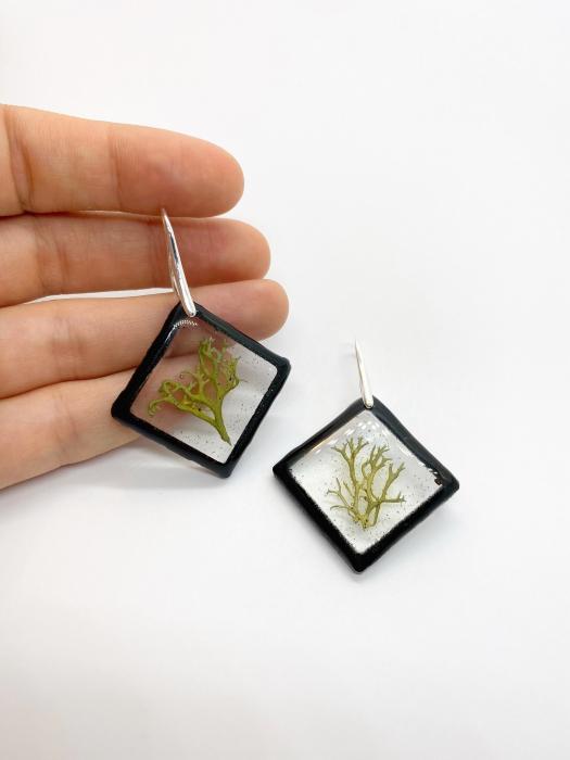 Cercei cu licheni si agatatoare din argint- Cercei Handmade 9