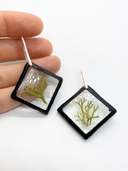 Cercei cu licheni si agatatoare din argint- Cercei Handmade 7