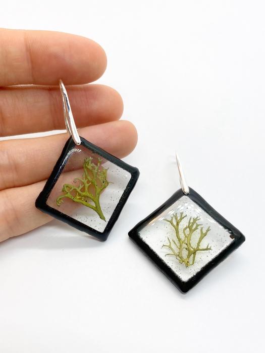 Cercei cu licheni si agatatoare din argint- Cercei Handmade 1
