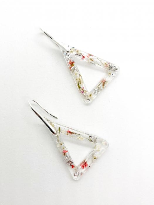 Cercei cu flori si foita de argint - Cercei Handmade [1]