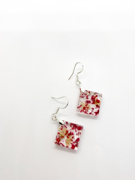 Cercei cu petale de rosii si albe [0]