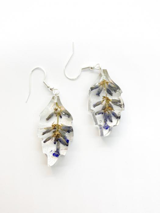 Cercei cu lavanda si argint - Cercei Handmade 0