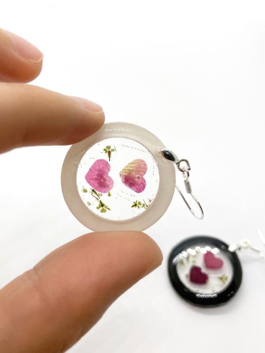 Cercei cu inimoare din petale de trandafir 0