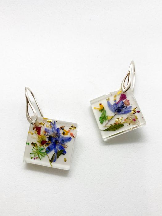 Cercei cu viorele si frunze - Cercei Handmade 2