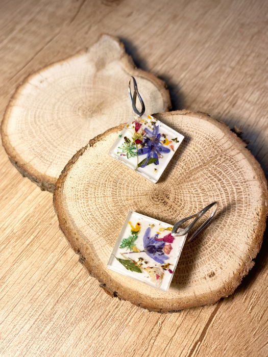 Cercei cu viorele si frunze - Cercei Handmade 5