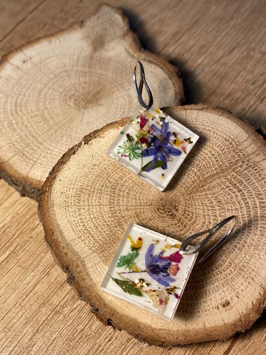 Cercei cu viorele si frunze - Cercei Handmade 6
