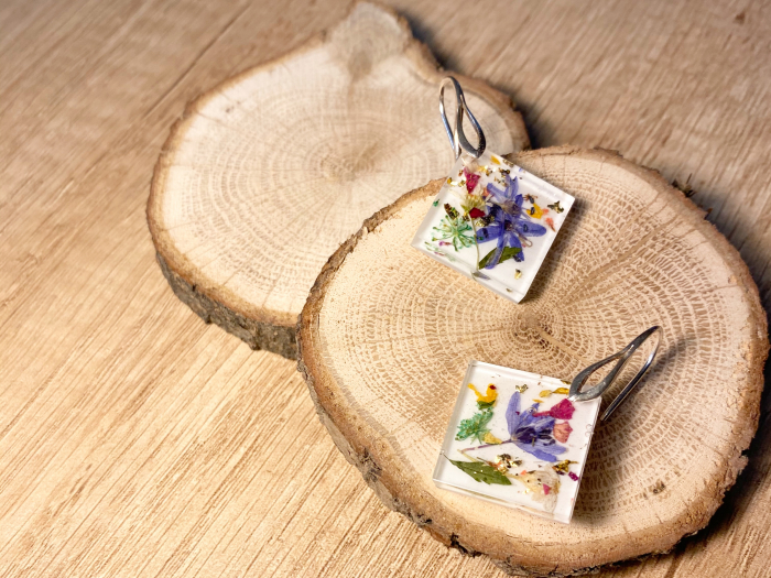 Cercei cu viorele si frunze - Cercei Handmade 4
