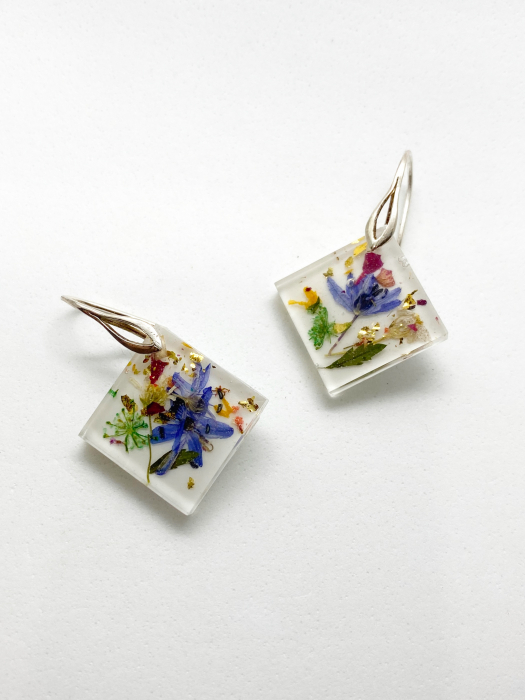 Cercei cu viorele si frunze - Cercei Handmade 0