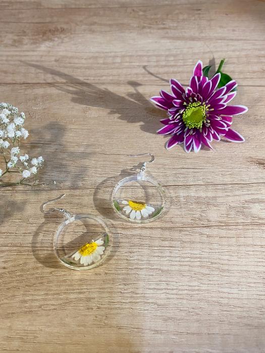 Cercei din argint cu petale si flori de margarete 8