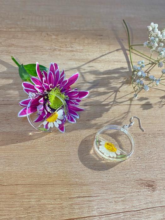 Cercei din argint cu petale si flori de margarete 6