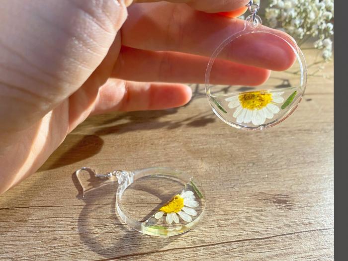 Cercei din argint cu petale si flori de margarete [7]
