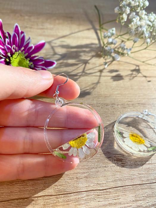 Cercei din argint cu petale si flori de margarete 11