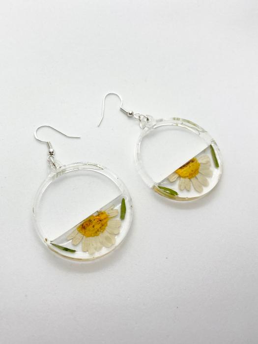 Cercei din argint cu petale si flori de margarete [3]