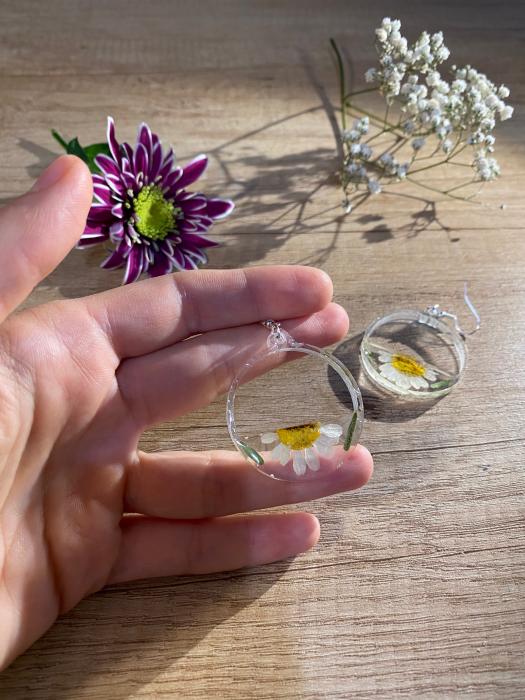 Cercei din argint cu petale si flori de margarete [5]