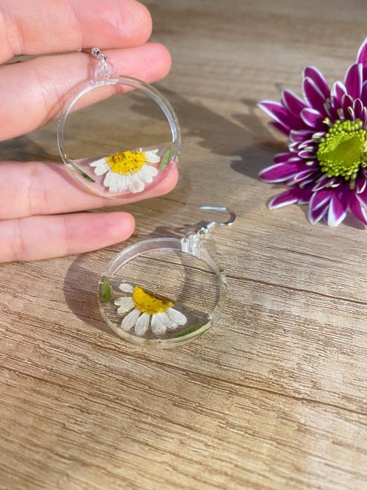Cercei din argint cu petale si flori de margarete [10]