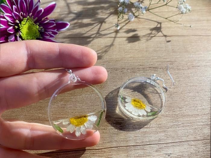 Cercei din argint cu petale si flori de margarete 12