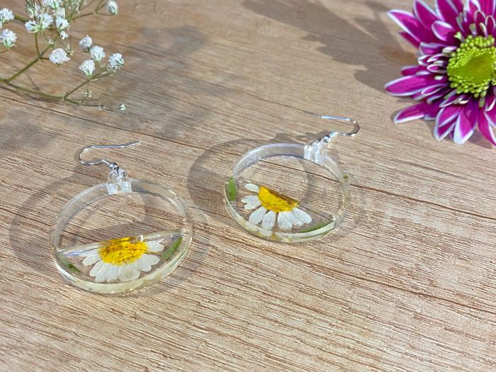 Cercei din argint cu petale si flori de margarete 9