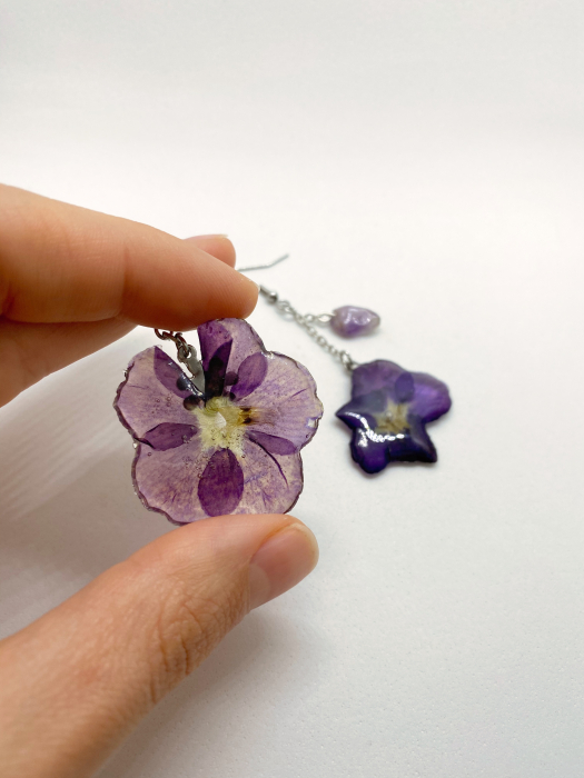 Cercei din petale de floare handmade [5]