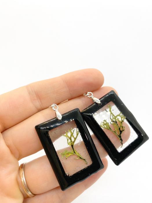 Cercei dreptunghiuri cu licheni si agatatoare din argint [11]