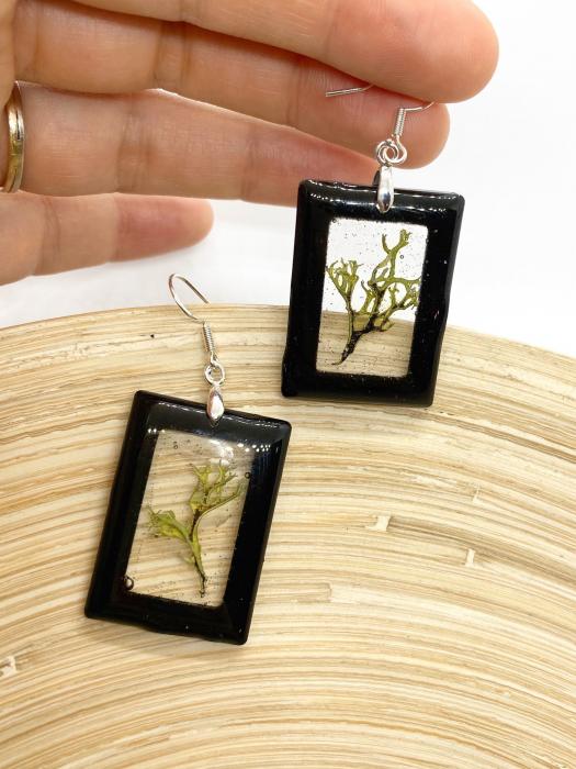 Cercei dreptunghiuri cu licheni si agatatoare din argint [8]