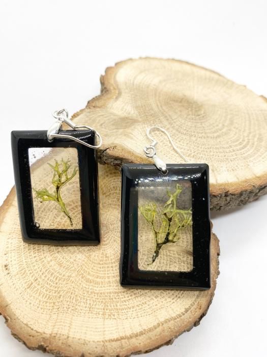 Cercei dreptunghiuri cu licheni si agatatoare din argint [1]
