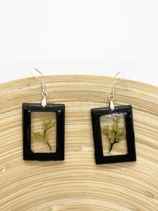 Cercei dreptunghiuri cu licheni si agatatoare din argint [4]