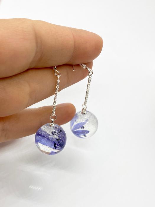 Cercei sfere cu viorele - Cercei Handmade [1]