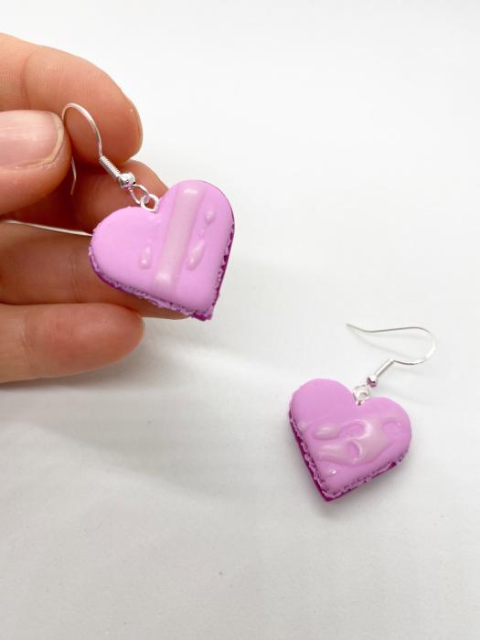 Cercei macarons inimioara roz handmade 5
