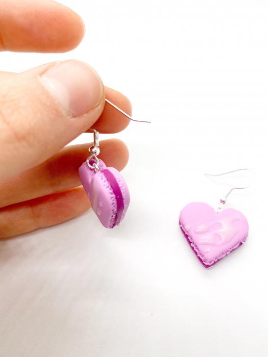 Cercei macarons inimioara roz handmade 2