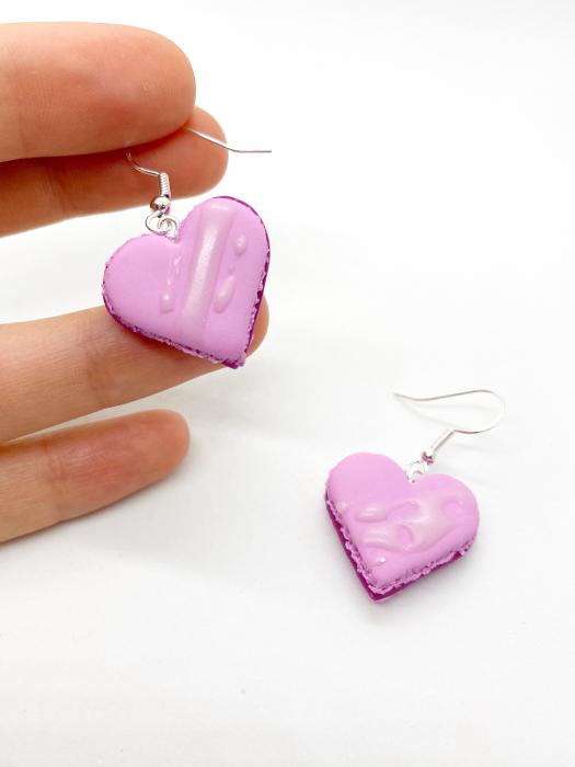 Cercei macarons inimioara roz handmade 1